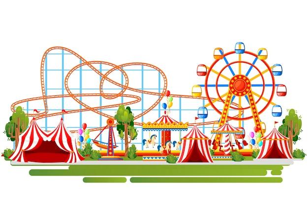 Park rozrywki. . kolejka górska, karuzela, statek piracki i czerwone namioty. ilustracja na białym tle. strona internetowa i aplikacja mobilna.