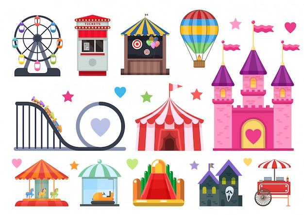 Park rozrywki kolorowe obiekty zestaw z ekstremalnymi i nadmuchiwanymi atrakcjami namiot cyrkowy uliczne jedzenie na białym tle ilusracja wektora