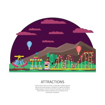Park rozrywki lub koncepcja wesołego miasteczka