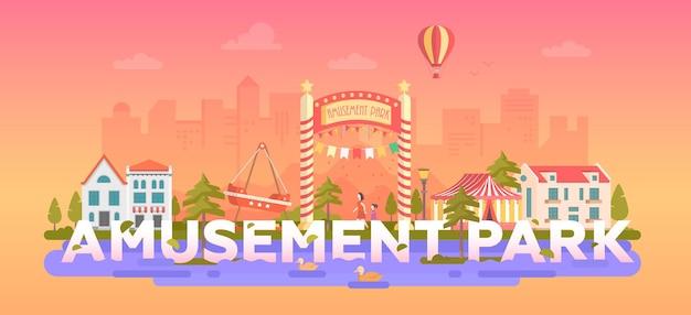 Park rozrywki - nowoczesny styl płaskich ilustracji wektorowych w okrągłej ramce na tle miejskim z miejscem na tekst. pejzaż miejski z atrakcjami, cyrkiem, karuzelą. koncepcja rozrywki
