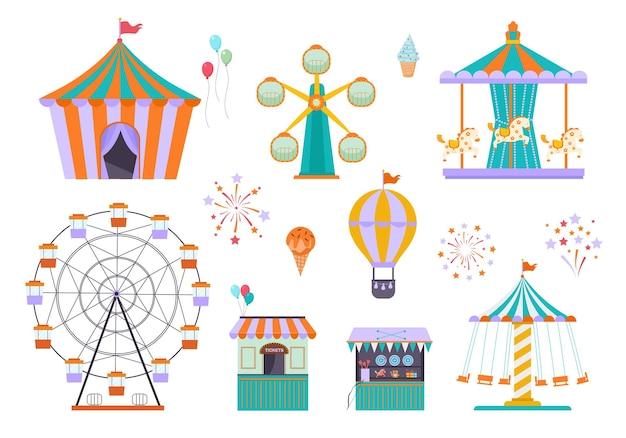 Park rozrywki. różne zabawne atrakcje dla dzieci jeżdżących na kołach namiot cyrkowy karuzela.