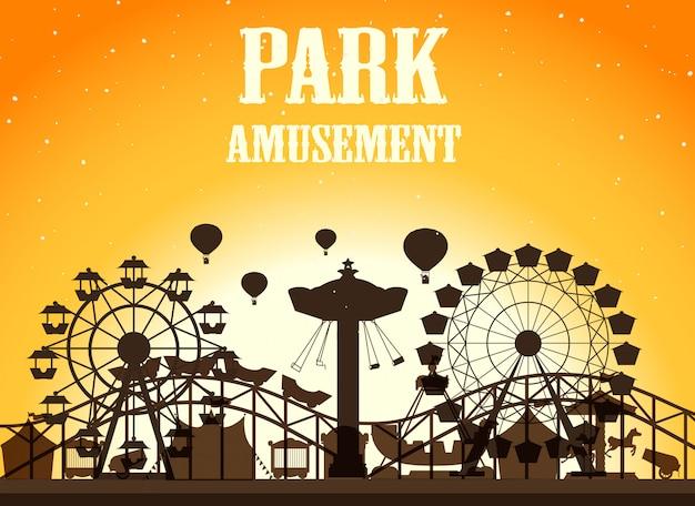 Park rozrywki sylwetka tło