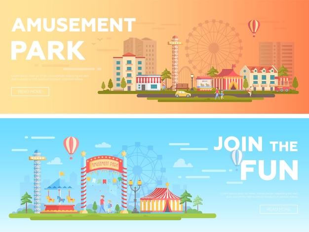 Park rozrywki - zestaw nowoczesnych ilustracji wektorowych płaski z miejscem na tekst. dwa warianty wesołego miasteczka. piękny pejzaż z atrakcjami, domami, karuzelami, ludźmi, dużym kołem. kolory pomarańczowy i niebieski