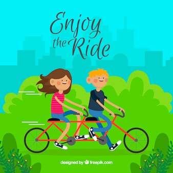 Park tło chłopców na rowerze