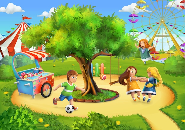 Park, tło placu zabaw