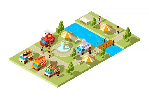 Park uliczny. miejsce publiczne z wagonami sprzedającymi różne jedzenie lodów lodów hamburgery sushi zimne napoje izometryczny skład
