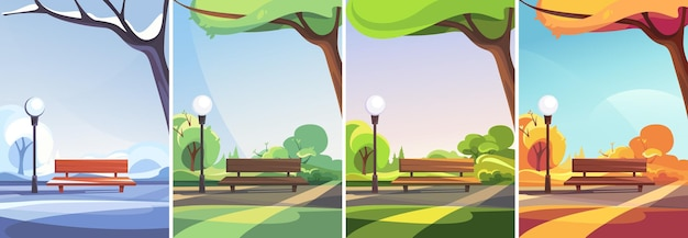 Park w różnych porach roku. sceny pozamiejskie w orientacji pionowej.