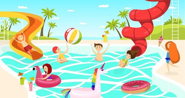Park wodny dla dzieci w lecie, dziewcząt i chłopców pływających na ilustracji zjeżdżalni.