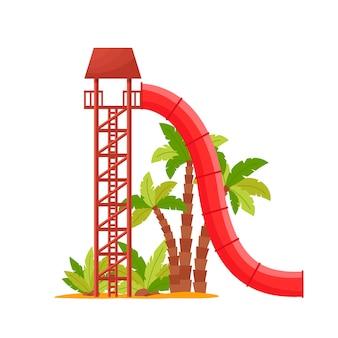 Park wodny z kolorową zjeżdżalnią, czerwoną rurą do zabawy dla dzieci.