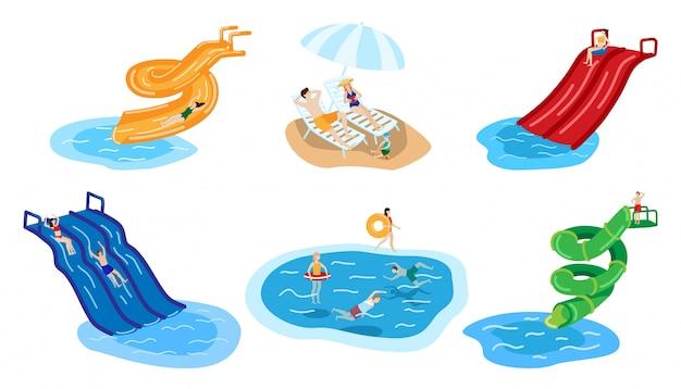 Park wodny z ludźmi w aqua lato ręcznie rysowane charakter na białym tle.