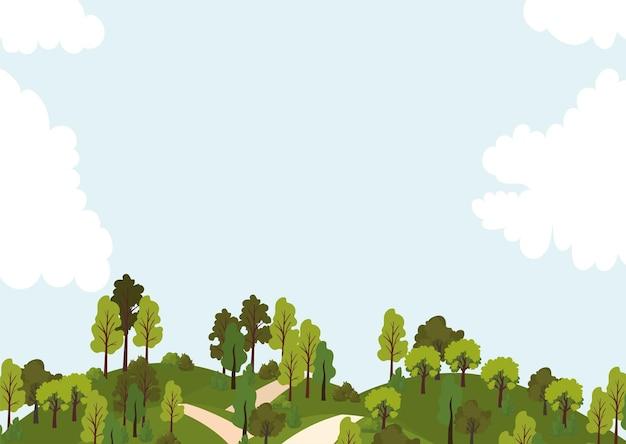 Park z drogami, drzewami i ilustracją błękitnego nieba
