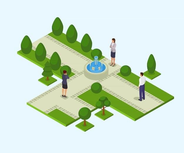 Park z fontanny ilustracyjny isometric odosobnionym. różni ludzie obsługują kobiety w biznesie odziewają w parku.