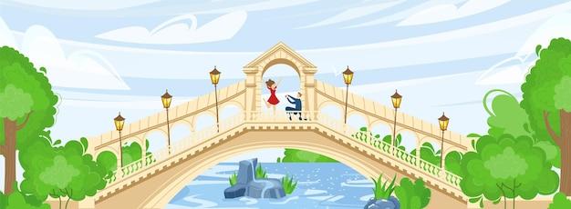 Park z mostem nad rzeką lub ilustracją wody.
