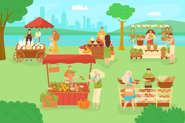 Park z rynkiem ulicznym, ilustracja na zewnątrz postaci ludzi. mężczyzna kobieta kupuje jedzenie na targach festiwalowych. letnie tło wydarzenia sprzedaży, spacer osoby do straganu sprzedaży.