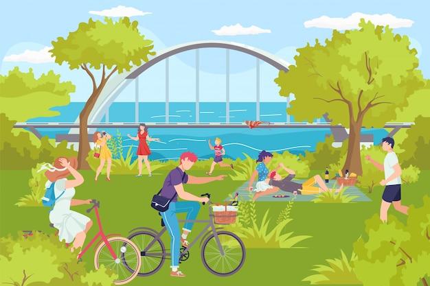 Park z rzeką, mężczyzna kobieta letni odpoczynek na świeżym powietrzu ilustracja. ludzie aktywny wypoczynek na łonie natury, rodzinny charakter wakacji. spacer po krajobrazie parku miejskiego, drzewie i ławce.