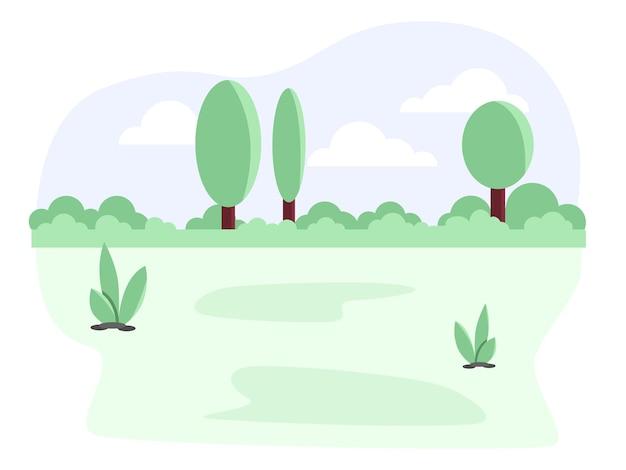 Park z tłem lasu. ilustracja kreskówka płaski kolor wektor.