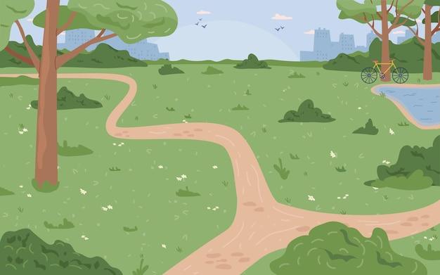 Park z zieloną trawą i drzewami rzeka jezioro lub strumień miasta scape