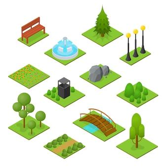 Park zestaw widok izometryczny. element krajobrazu ogrodowego.