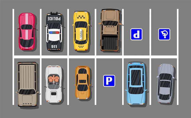 Parking miejski z różnymi samochodami