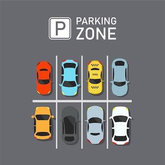 Parking miejski z zestawem różnych samochodów. brak miejsc parkingowych.