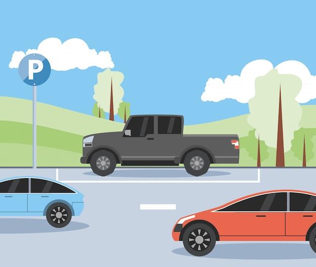 Parking strefy sceny miejskiej ilustracja