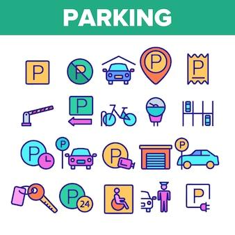 Parking zestaw ikon cienka linia