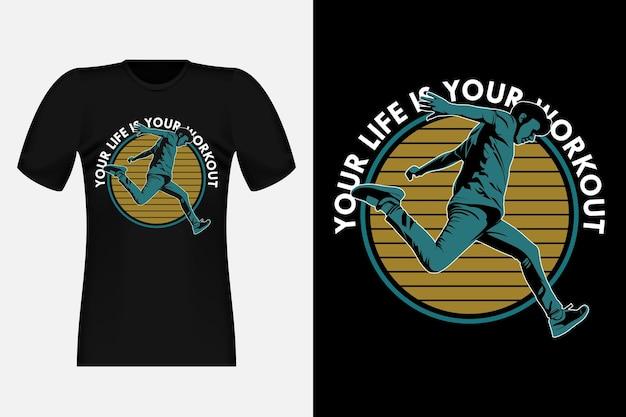 Parkour twoje życie to twój trening sylwetka vintage t-shirt design