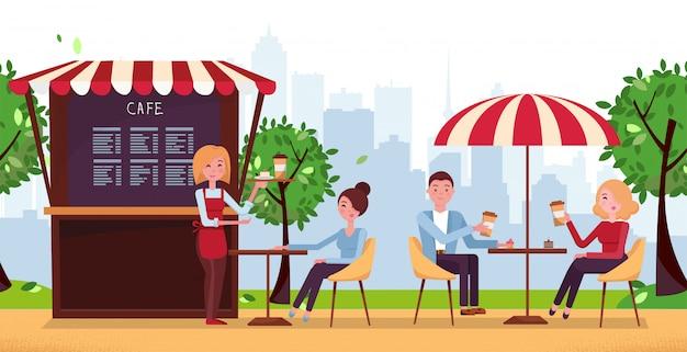 Parkowa kawiarnia z parasolem. ludzie piją kawę w kawiarni na świeżym powietrzu wektor ulicy na tarasie restauracji.