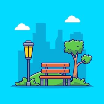 Parkowa ławka i lampa, trawy kreskówki ikony wektorowa ilustracja. plenerowego parkowego ikony pojęcia premii odosobniony wektor. płaski styl kreskówek