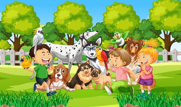 Parkowa scena plenerowa z wieloma dziećmi i ich zwierzakami