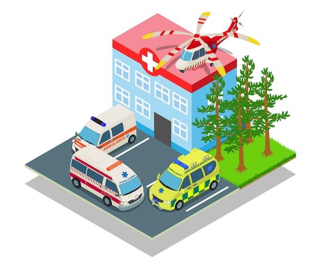 Parkowanie szpitala koncepcja transparent, izometryczny styl