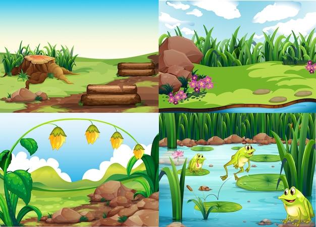 Parkowe sceny z trawą i żabami