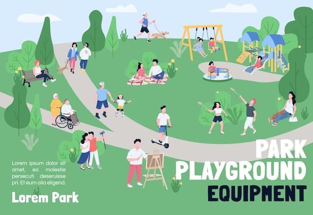 Parkowy plac zabaw dla dzieci szablon płaski transparent. broszura, projekt plakatu z postaciami z kreskówek. rekreacja na świeżym powietrzu, weekendowy piknik, ulotka pozioma, ulotka z miejscem na tekst