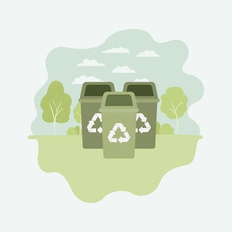 Parku z koszami recyklingu