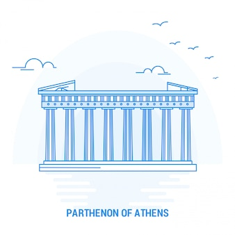Parthenon of athens blue landmark