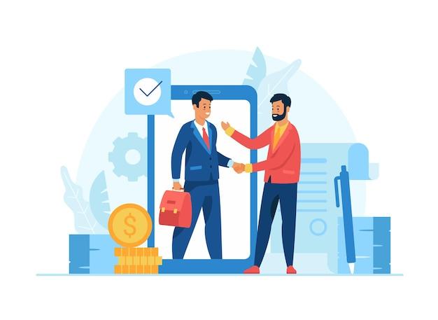 Partnerstwo e-biznesu online. dwóch męskich postaci z kreskówek biznesmenów, ściskając ręce, robiąc interesy. zdalne zarządzanie biznesem. płaska ilustracja wektorowa