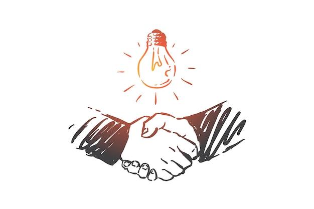 Partnerstwo, innowacje, ilustracja koncepcji współpracy