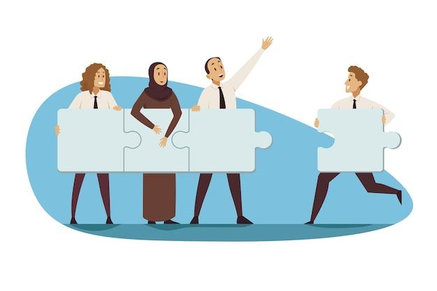Partnerstwo, praca zespołowa, koncepcja biznesowa.