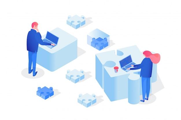 Partnerstwo, zespół pracujący w 3d