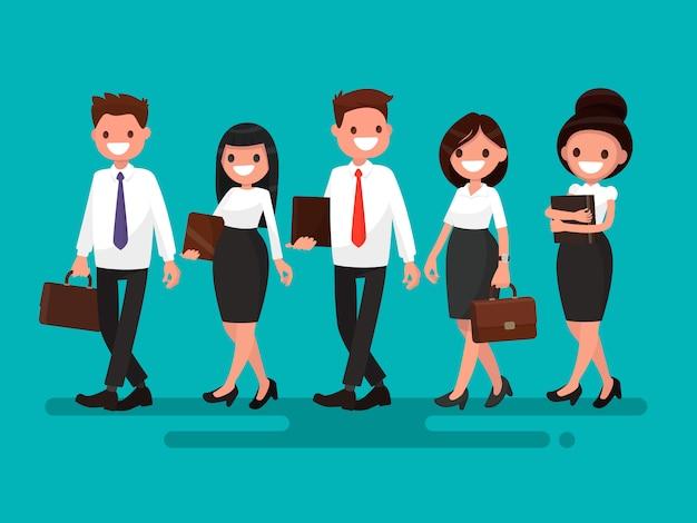 Partnery biznesowi iść wpólnie ilustracja