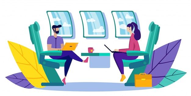 Partnerzy biznesowi latający w samolocie