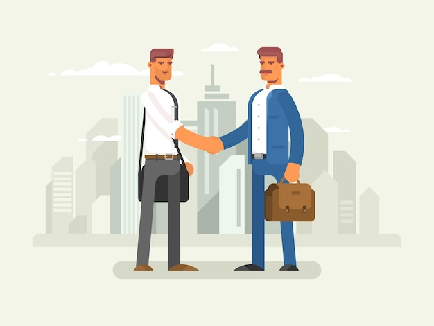 Partnerzy biznesowi płaska konstrukcja partnerstwo biznesmen sukces ilustracji wektorowych współpracy