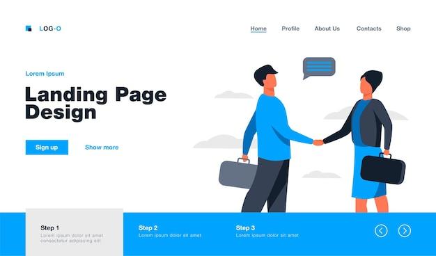 Partnerzy biznesowi witają się lub zamykają transakcję. mężczyzna i kobieta, ściskając rękę. płaska ilustracja. zatrudnienie, koncepcja współpracy projekt strony internetowej lub landing page