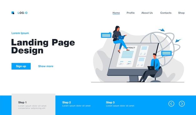 Partnerzy podpisujący umowę online landing page w płaskim stylu