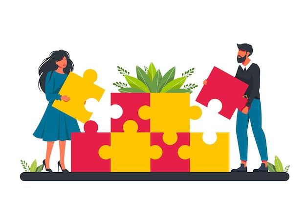 Partnerzy posiadający duże kawałki układanki płaskie wektor ilustracja. udane partnerstwo, komunikacja, metafora współpracy. praca zespołowa, koncepcja współpracy biznesowej. ilustracja wektorowa