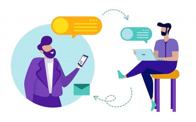 Partnerzy użyteczności za pomocą telefonu i laptopa wiadomości.
