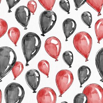 Party balon tło wektor w kolorze czerwonym i czarnym