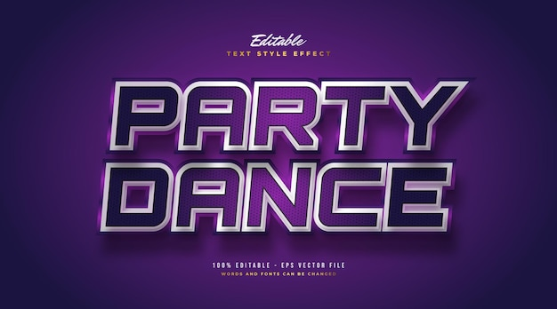 Party dance tekst w kolorze fioletowym i białym w stylu retro 3d. edytowalny efekt stylu tekstu