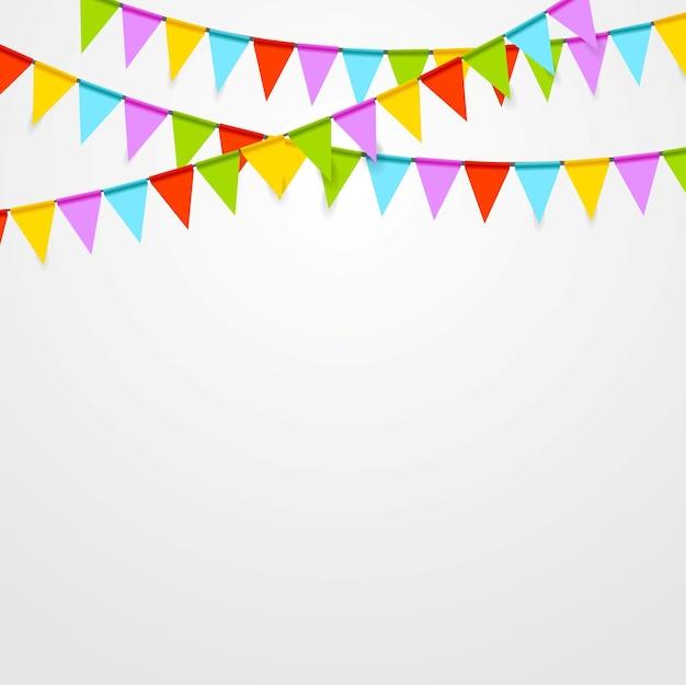 Party flagi świętują jasne tło. projekt grafiki wektorowej
