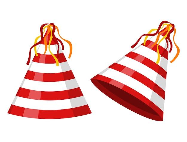 Party kapelusz stożek w paski na białym tle. akcesorium, symbol wakacji. czapka urodzinowa.